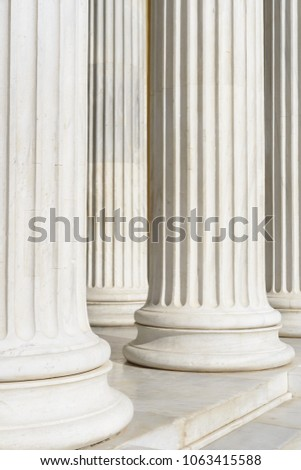 Marble columns of a government building in the center of Athens #1063415588