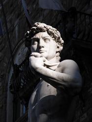 Marble copy of Michelangelo's David statue, Piazza della Signoria, Florence, Italy