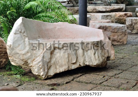 Marble garden bench in the park #230967937