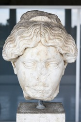 Marble head of a Greek woman, Ancient Agora, Athens, Greece