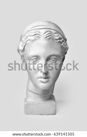 Marble head of young woman, ancient Greek goddess bust. Sculpture executed in accordance with modern standards of beauty isolated on white background