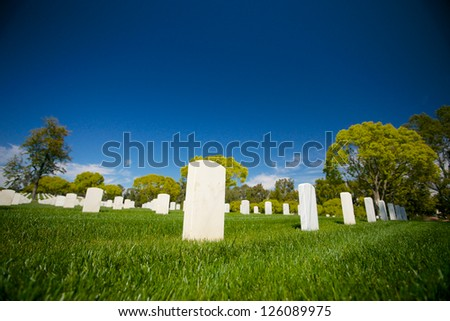 Marble headstones mark the final resting place of American veterans in Los Angeles National Cemetery.