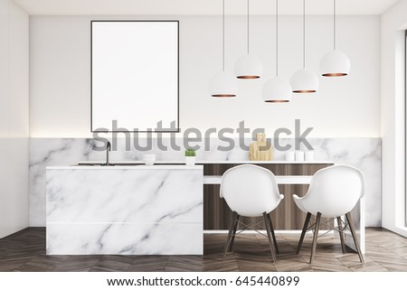 Marble kitchen interior with a small table, two white chairs ...