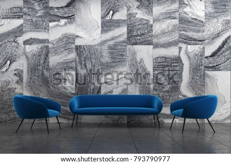 Marble living room interior with a blue sofa and two armchairs on a black tiled floor. 3d rendering mock up