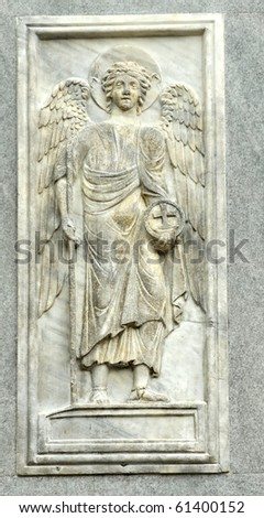 marble panel relief on the wall of St Mark's basilica in Venice showing the archangel Gabriel, the messenger of God