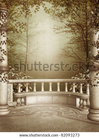 Marble patio with columns and autumn vines