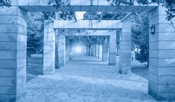Marble perspective collumn alley -way pergola entrance with botanical garden - Mersin, Turkey