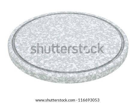 Marble plate for meat and vegetable on white background