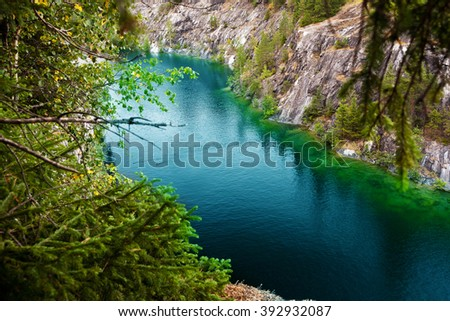 Marble quarry flooded in past in Karelia, Russia #392932087