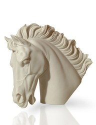 marble sculpture of a horse's head is on the floor, clipping path