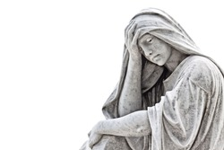 Marble sculpture of a very sad woman isolated on white with clipping path