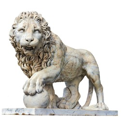 Marble sculpture of lion isolated in white. Vorontsov Palace. Alupka, Crimea,