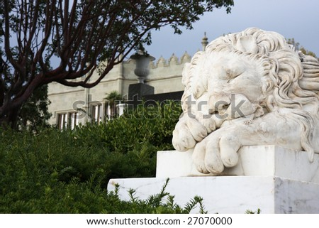 Marble sculpture of sleeping lion by the Vorontsovsky palace