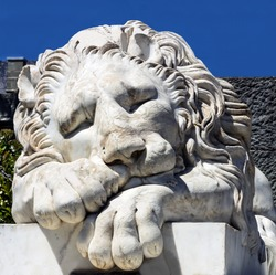 Marble sculpture of sleeping lion in Vorontsov Palace in the town of Alupka, Crimea, Russia.