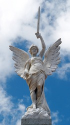 Marble Statue of an Angel with sword and Wreath