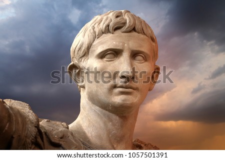 Marble statue of Augustus, the first emperor of Rome and father of the nation, Rome, Italy, Europe, Vintage filtered style