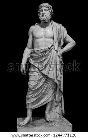 Marble statue of greek god Zeus isolated on black background #1244971120