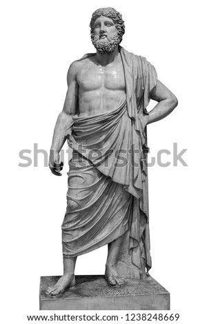 Marble statue of greek god Zeus isolated on white background.