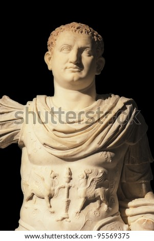 Marble statue of Imperator Titus - Excavated at Herculaneum near Pompejii. Both cities near Naples in Italy were destroyed by the eruption of Vesuvius in 79AD.