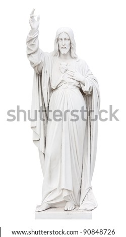 Marble statue of Jesus  isolated on white with clipping path
