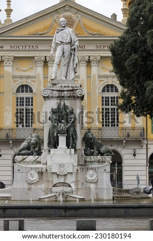 Marble Statue of the Italian Hero Giuseppe Garibaldi in Nice, France #230180194