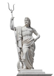 Marble statue of the sea god Neptune isolated on white with clipping path