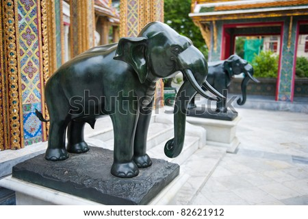 Marble statues of elephants at Thai temple
