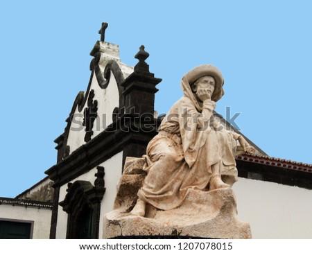 Marble stature and church façade with Baroque architecture, Vila Franca do Campo, São Miguel, Portugal