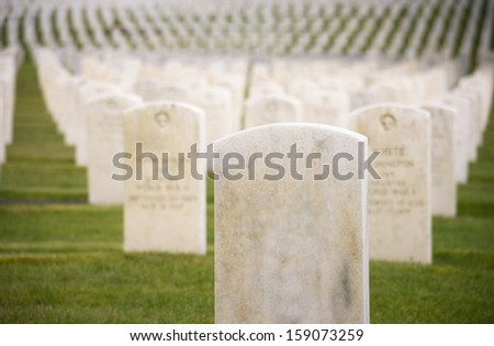 Marble Stone Military Headstones Hundreds Row Graveyard Cemetery