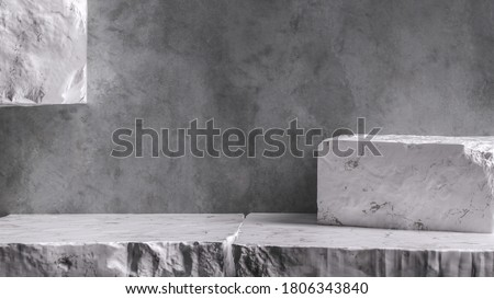 Marble Stone pieces grunge wall background, debris stone slabs for product display, rough geometric shapes of rock. 3d  rendering.