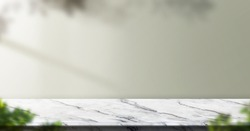 marble table background with sunlight window create leaf shadow on wall with blur indoor green plant foreground.panoramic banner mockup for display of product