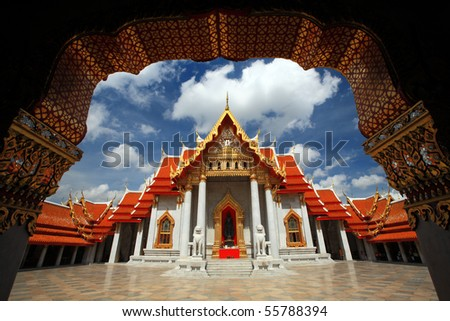 stock photo : Marble Temple in Bangkok Thailand