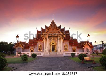 Marble Temple twilight Bangkok Thailand