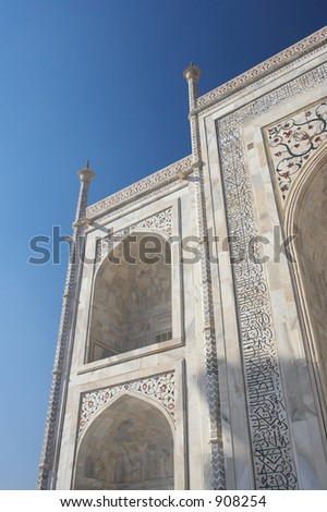 Marble wall of Taj Mahal. The Taj Mahal was built by Emperor Shah Jahan as a mausoleum for his wife Mumtaj in 1631 AD