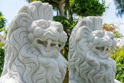 Marble white lion statue in outdoors park in tropical garden, Vietnam. Close up