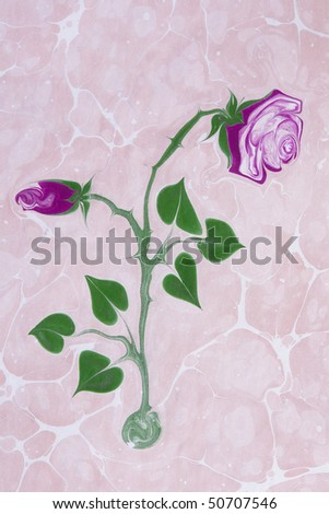 Marbled paper artwork background - Flower