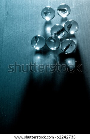 Marbles in Single Point Lighting with Blue Filter