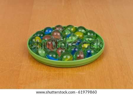 Marbles on Green Platter