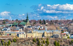 Marcelle-Mallet School and Notre-Dame-de-la-Victoire Church in Levis near Quebec City - Canada