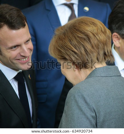 MARCH 31, 2015 - BERLIN: French minister Emmanuel Macron and German Chancellor Angela Merkel at a photo op before a meeting of members of the French and German government in the Chanclery in Berlin.