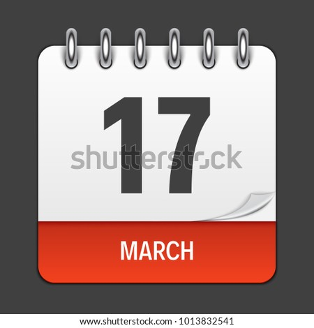 March 17 Calendar Daily Icon.  Illustration Emblem. Element of Design for Decoration Office Documents and Applications. Logo of Day, Date, Month and Holiday. St.Patrick s Day