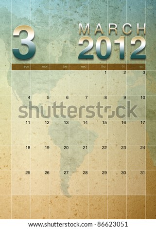 March 2012 calendar on World map background