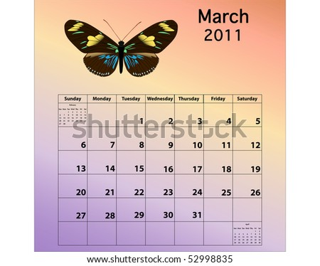 march calendars 2011. stock photo : March 2011