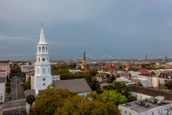 March 31, 2021 - Charleston, South Carolina, USA: Aerial view of the city of Charleston, SC.