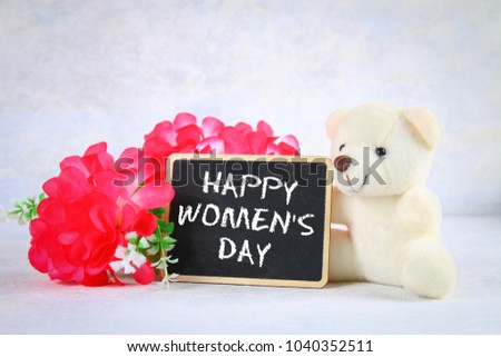 March 8 International Womens Day Chalkboard With Pink Flowers And Teddy Bear 1040352511