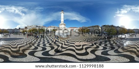 MARCH 2018 - LISBON: a 420 x 180 degree panorama of Rossio, Lisbon, Portugal .