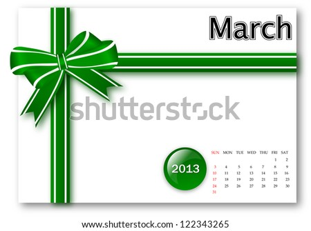 March of 2013 calendar for gift pack design