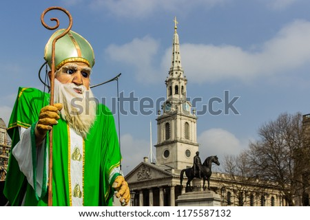 March 17th St. Patrick's Day celebration at Trafalgar Square in London, England, UK