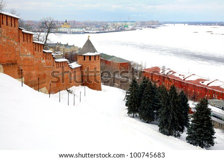 March view to port Nizhny Novgorod from Kremlin Russia