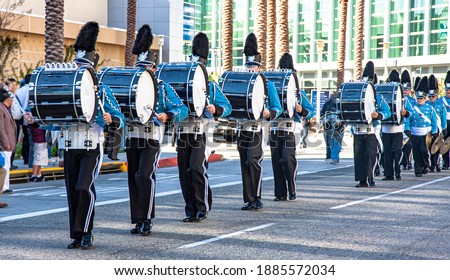 Marching band with drums dressed in blue Сток-фото ©
